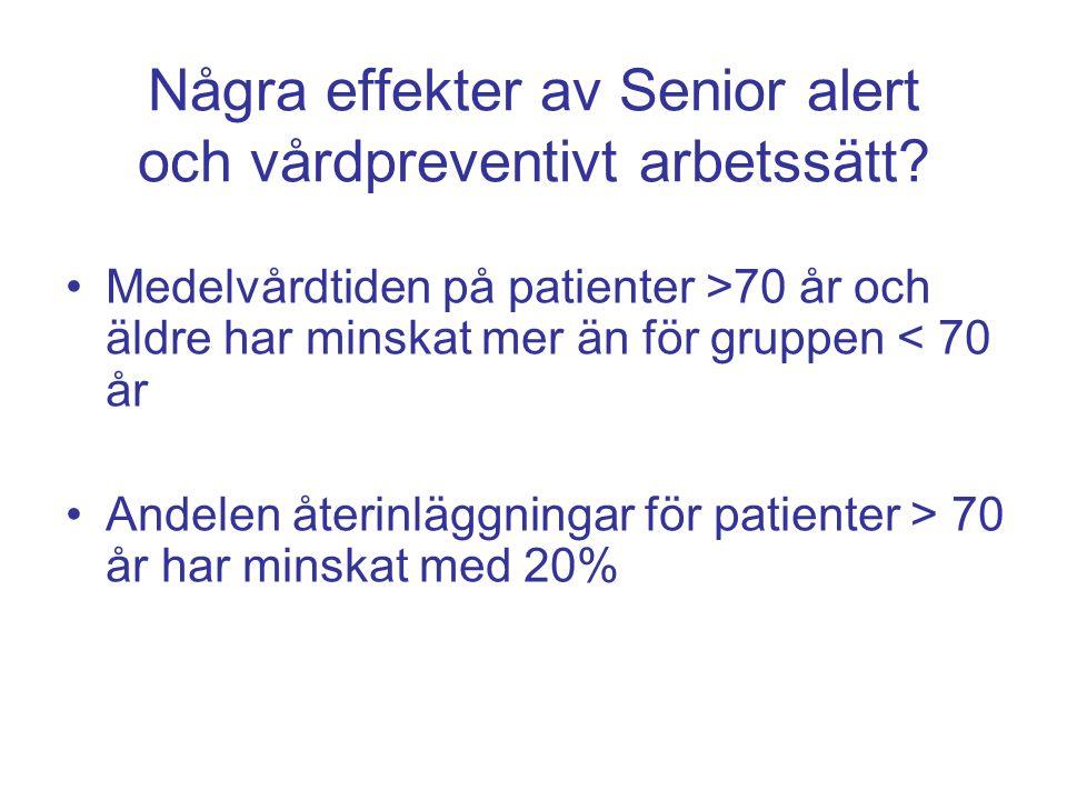 Några effekter av Senior alert och vårdpreventivt arbetssätt? Medelvårdtiden på patienter >70 år och äldre har minskat mer än för gruppen < 70 år Ande