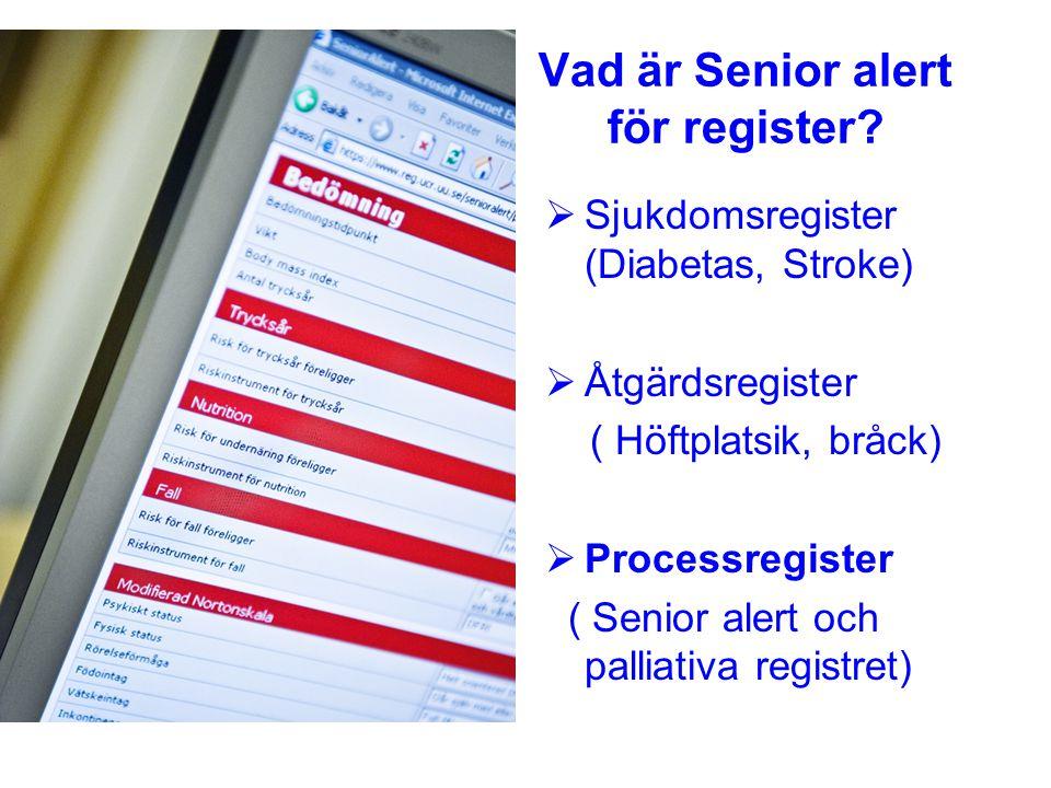 Vad är Senior alert för register?  Sjukdomsregister (Diabetas, Stroke)  Åtgärdsregister ( Höftplatsik, bråck)  Processregister ( Senior alert och p