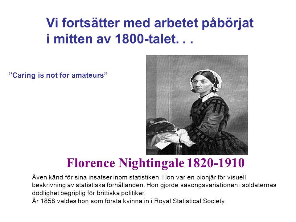 Florence Nightingale 1820-1910 Även känd för sina insatser inom statistiken. Hon var en pionjär för visuell beskrivning av statistiska förhållanden. H