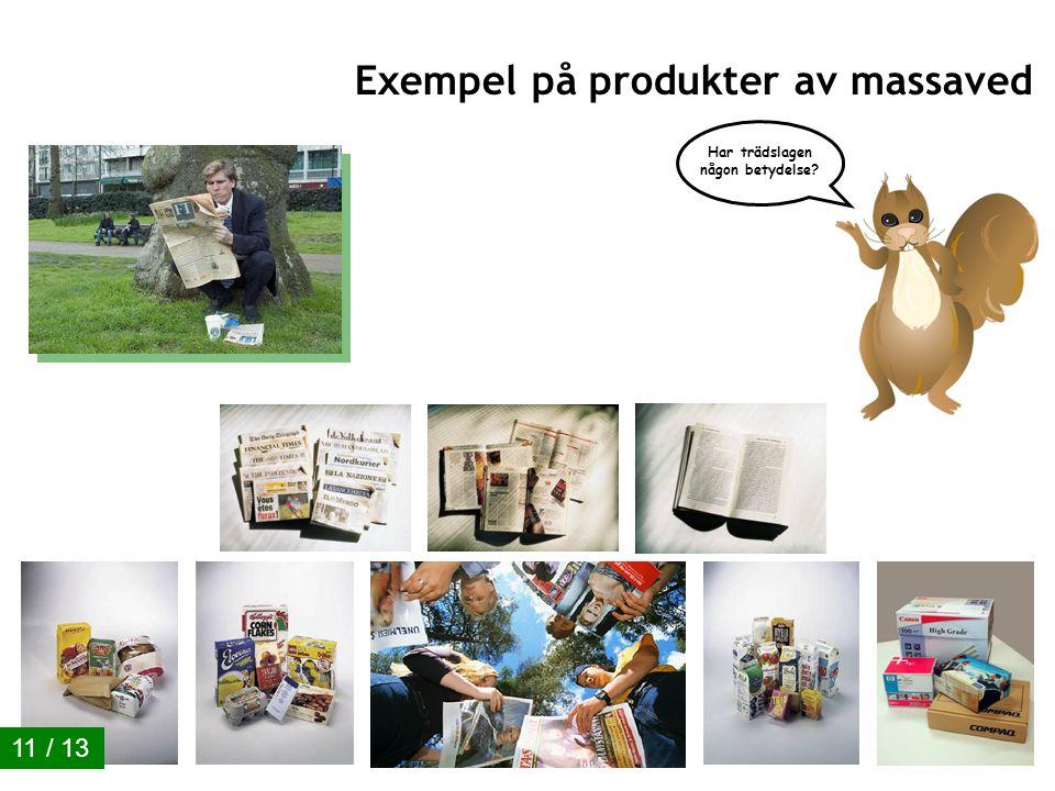 Ekonomiskogen 01/2011 10 / 13 Exempel på produkter av stockar Har trädslagen någon betydelse