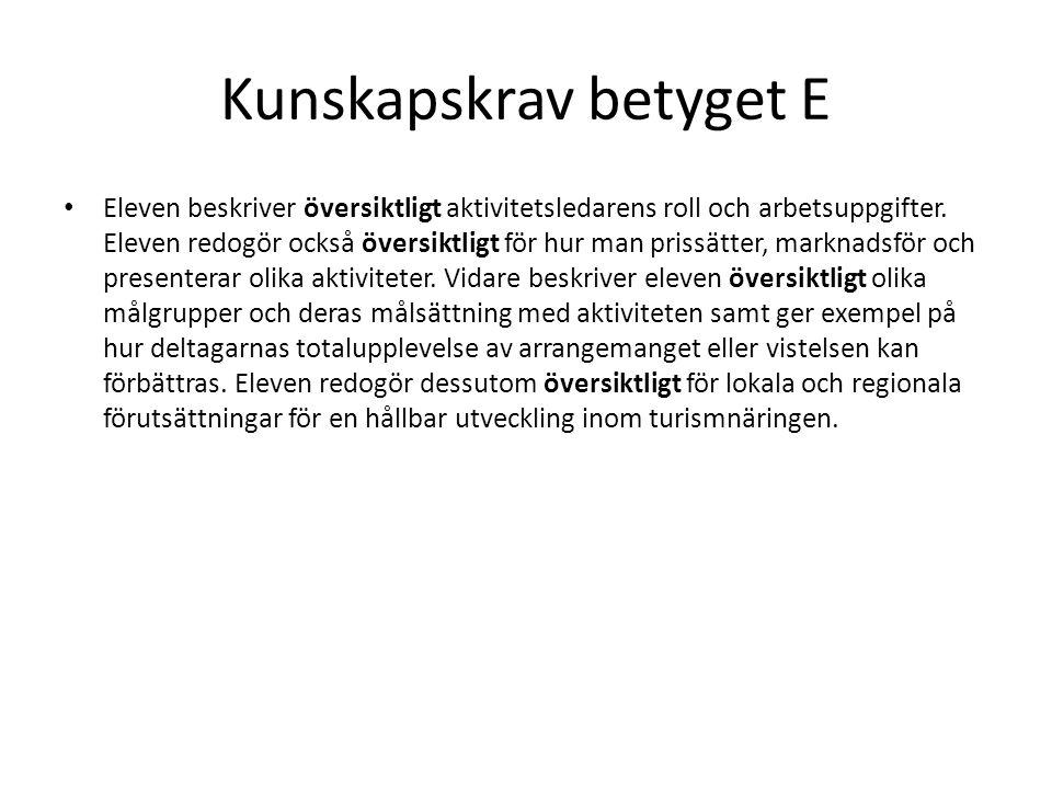 Kunskapskrav betyget E Eleven planerar och organiserar i samråd med handledare aktiviteter för olika målgrupper.