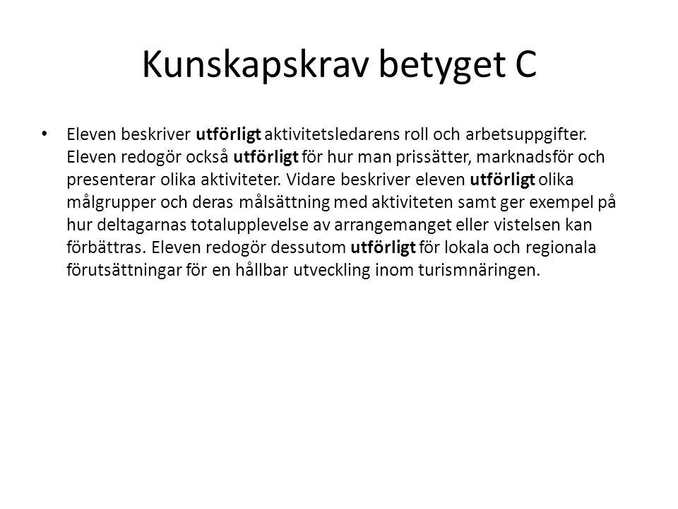 Kunskapskrav betyget C Eleven planerar och organiserar efter samråd med handledare aktiviteter för olika målgrupper.