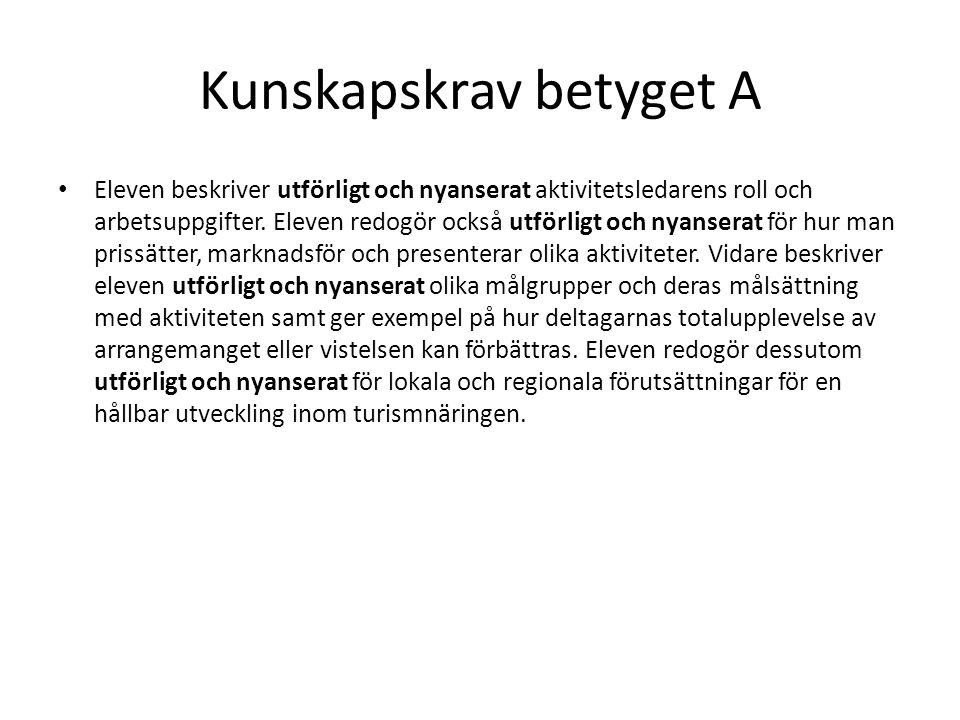 Kunskapskrav betyget A Eleven planerar och organiserar efter samråd med handledare aktiviteter för olika målgrupper.