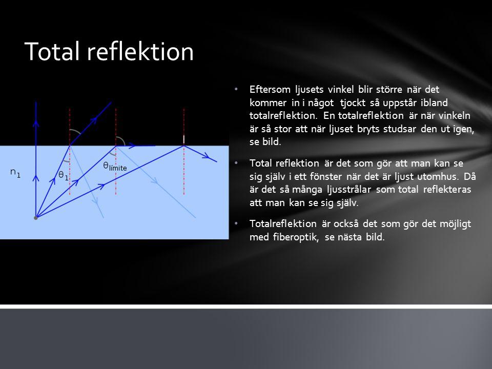 Total reflektion Eftersom ljusets vinkel blir större när det kommer in i något tjockt så uppstår ibland totalreflektion.