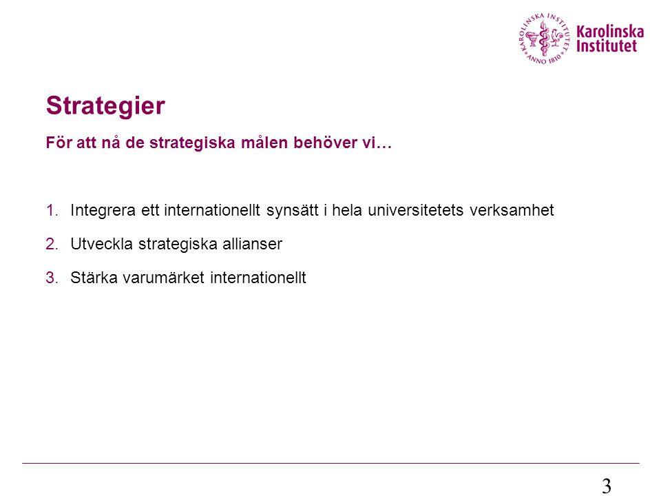 Fokus utbildning Strategins framgång beroende av externt stöd  I form av externa internationella stödprogram och nationella satsningar  Erasmus; Nordplus; Erasmus Mundus; Linnaeus-Palme; Programmet för ny mobilitet; Stipendier för avgiftsskyldiga studenter m.fl.