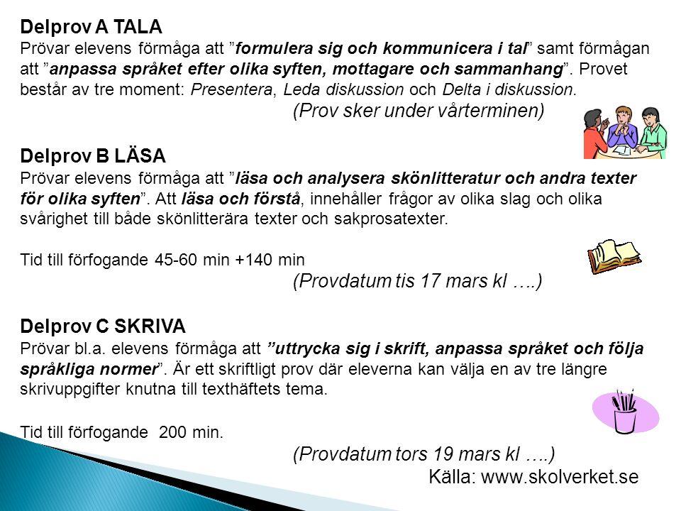 Olika texttyper som är bra att känna till inför provet Information hämtad från olika läromedel i svenska bl.a.
