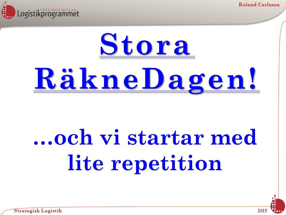 Roland Carlsson Strategisk Logistik 2015 Stora RäkneDagen! …och vi startar med lite repetition