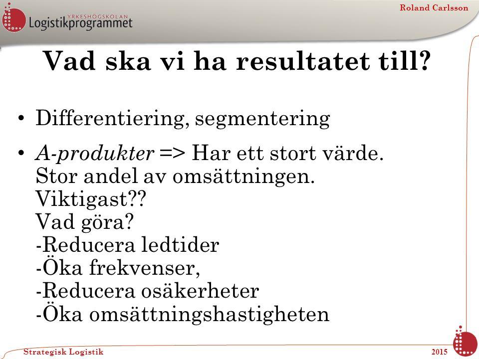 Roland Carlsson Strategisk Logistik 2015 Vad ska vi ha resultatet till? Differentiering, segmentering A-produkter => Har ett stort värde. Stor andel a