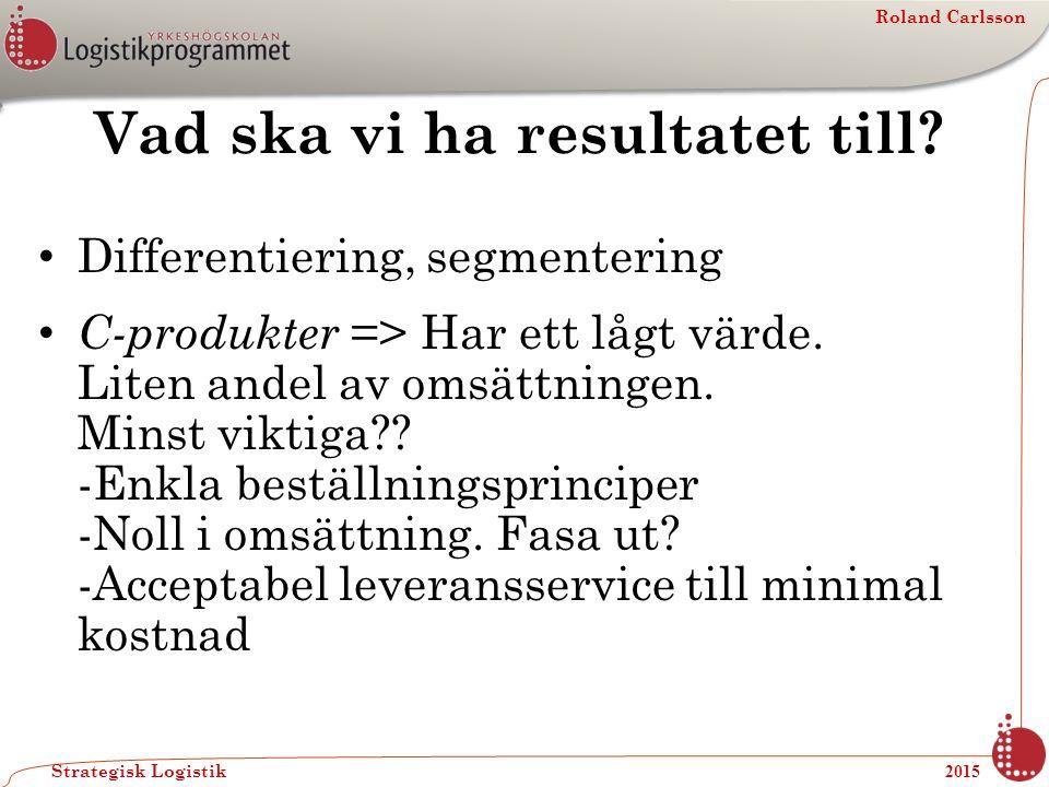 Roland Carlsson Strategisk Logistik 2015 Vad ska vi ha resultatet till? Differentiering, segmentering C-produkter => Har ett lågt värde. Liten andel a