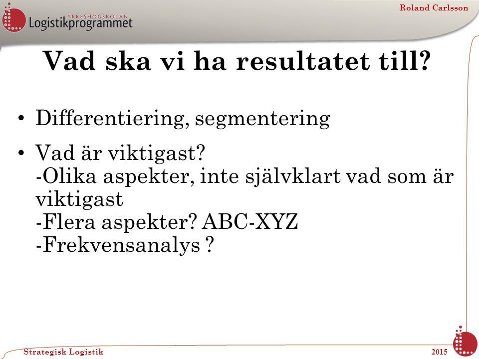 Roland Carlsson Strategisk Logistik 2015 Vad ska vi ha resultatet till? Differentiering, segmentering Vad är viktigast? -Olika aspekter, inte självkla
