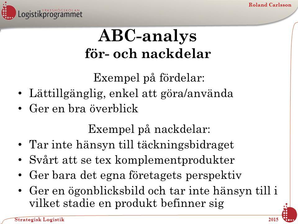 Roland Carlsson Strategisk Logistik 2015 ABC-analys för- och nackdelar Exempel på fördelar: Lättillgänglig, enkel att göra/använda Ger en bra överblic