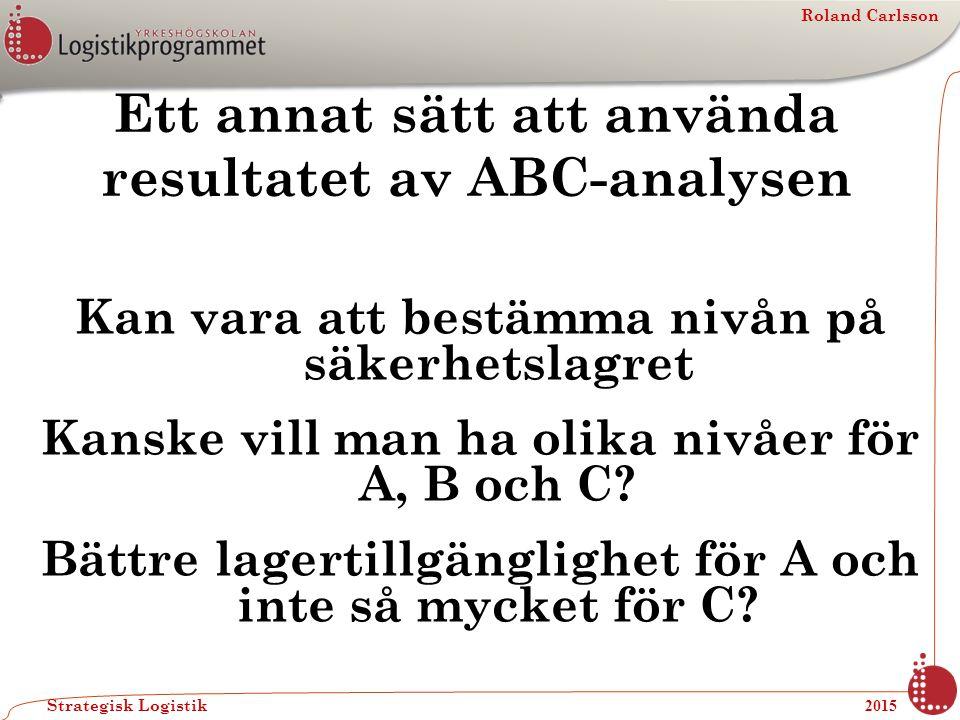 Roland Carlsson Strategisk Logistik 2015 Ett annat sätt att använda resultatet av ABC-analysen Kan vara att bestämma nivån på säkerhetslagret Kanske v