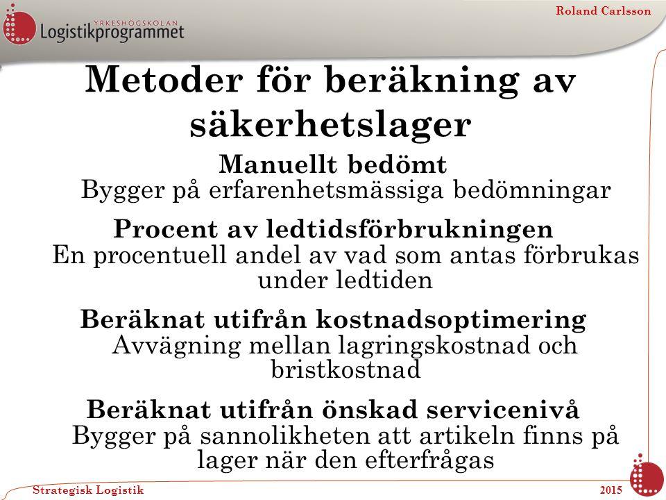 Roland Carlsson Strategisk Logistik 2015 Metoder för beräkning av säkerhetslager Manuellt bedömt Bygger på erfarenhetsmässiga bedömningar Procent av l