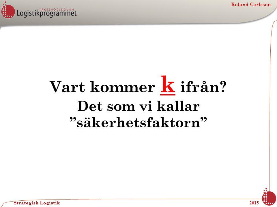 """Roland Carlsson Strategisk Logistik 2015 Vart kommer k ifrån? Det som vi kallar """"säkerhetsfaktorn"""""""