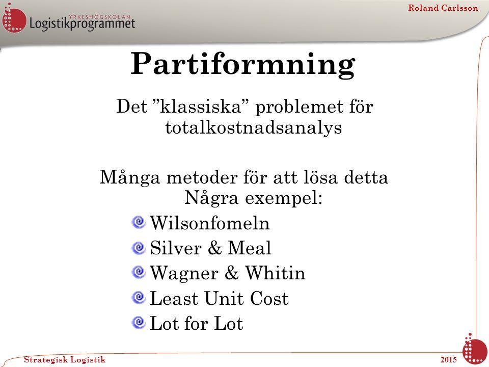 """Roland Carlsson Strategisk Logistik 2015 Partiformning Det """"klassiska"""" problemet för totalkostnadsanalys Många metoder för att lösa detta Några exempe"""