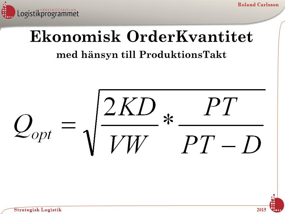 Roland Carlsson Strategisk Logistik 2015 Ekonomisk OrderKvantitet med hänsyn till ProduktionsTakt