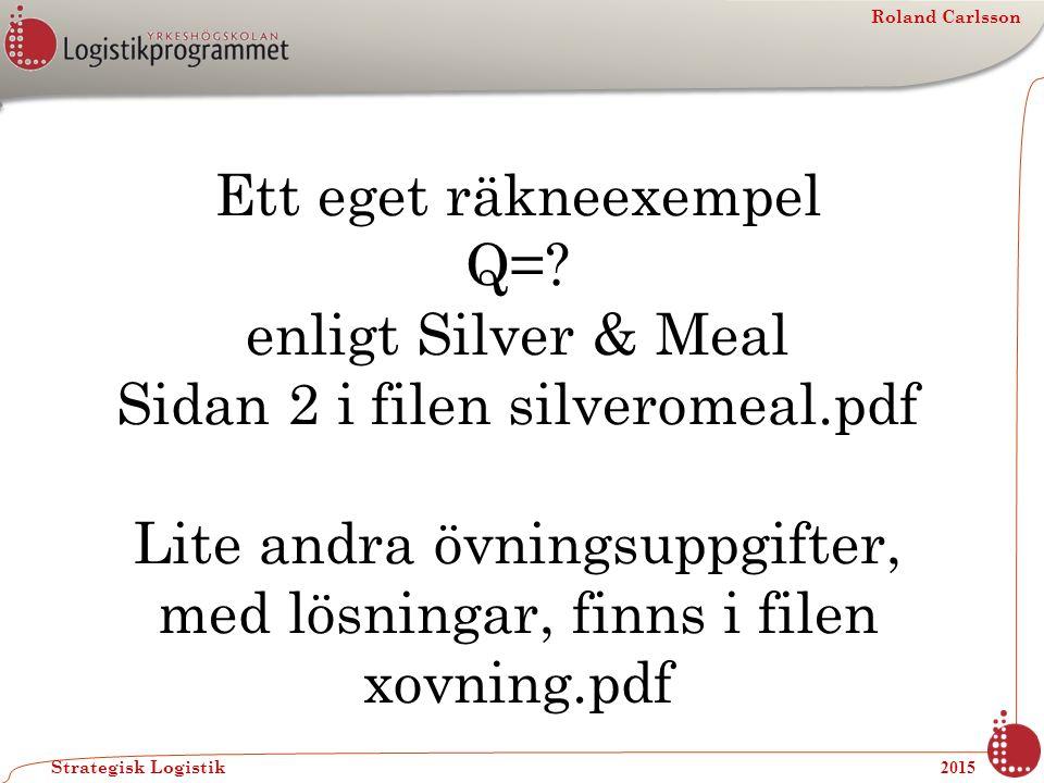 Roland Carlsson Strategisk Logistik 2015 Ett eget räkneexempel Q=? enligt Silver & Meal Sidan 2 i filen silveromeal.pdf Lite andra övningsuppgifter, m