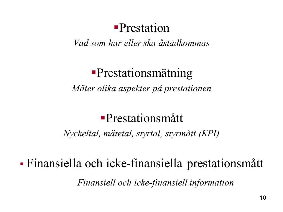 10  Prestation Vad som har eller ska åstadkommas  Prestationsmätning Mäter olika aspekter på prestationen  Prestationsmått Nyckeltal, mätetal, styrtal, styrmått (KPI)  Finansiella och icke-finansiella prestationsmått Finansiell och icke-finansiell information