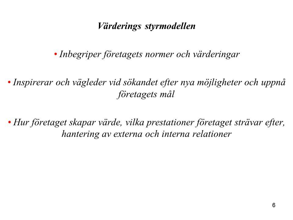 7 Gränsskapande styrmodellen Beskriver accepterade områden för aktiviteter Begränsar handlingsutrymmet för anställda Sätter gränser för vad som är acceptabelt i syfte att undvika risker Vilka regler som gäller