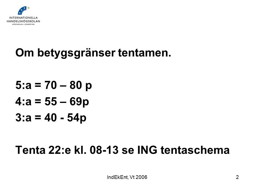 IndEkEnt, Vt 20062 Om betygsgränser tentamen.