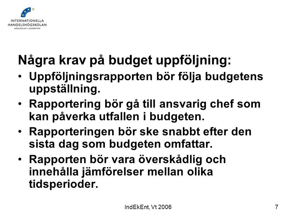 IndEkEnt, Vt 20067 Några krav på budget uppföljning: Uppföljningsrapporten bör följa budgetens uppställning.