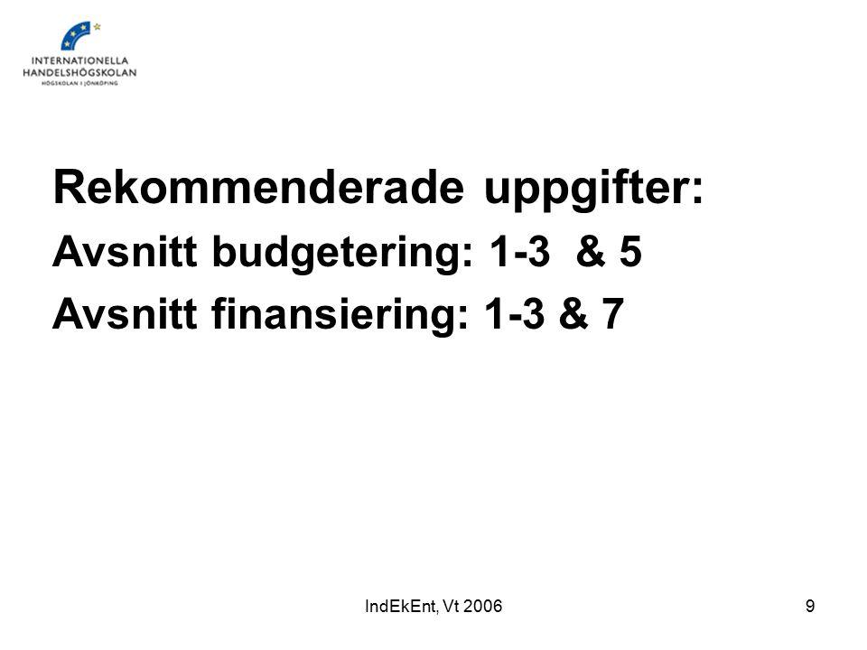IndEkEnt, Vt 20069 Rekommenderade uppgifter: Avsnitt budgetering: 1-3 & 5 Avsnitt finansiering: 1-3 & 7