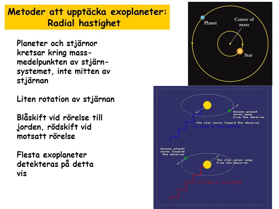 Metoder för att upptäcka exoplaneter: Direct imaging 2004 första planet kring en brun dvärg upptäckt Funkade långt bara för mycket stora planeter med mycket starka teleskop (Gemini) sedan 2010 teleskop på JPL som klarar bättre upplösning möjligtvis kan interferometri utnyttjas att subtrahera bort stjärnljus starka interferometrar (ALMA, LOFAR) kunde användas för detta ändamål