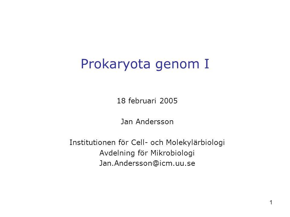 1 Prokaryota genom I 18 februari 2005 Jan Andersson Institutionen för Cell- och Molekylärbiologi Avdelning för Mikrobiologi Jan.Andersson@icm.uu.se