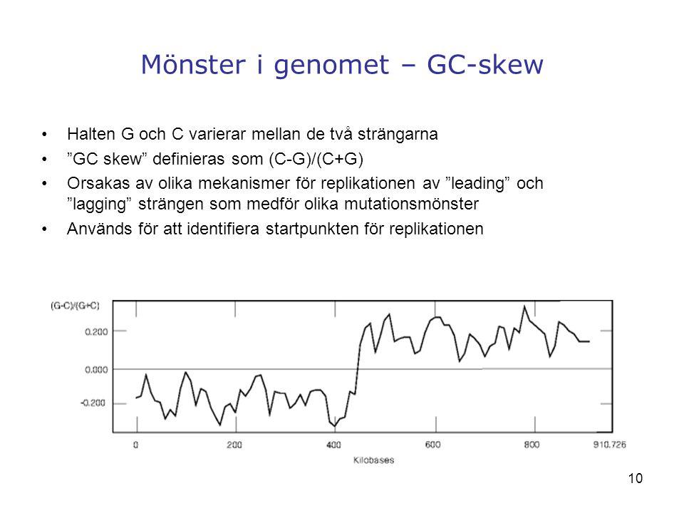 """10 Mönster i genomet – GC-skew Halten G och C varierar mellan de två strängarna """"GC skew"""" definieras som (C-G)/(C+G) Orsakas av olika mekanismer för r"""