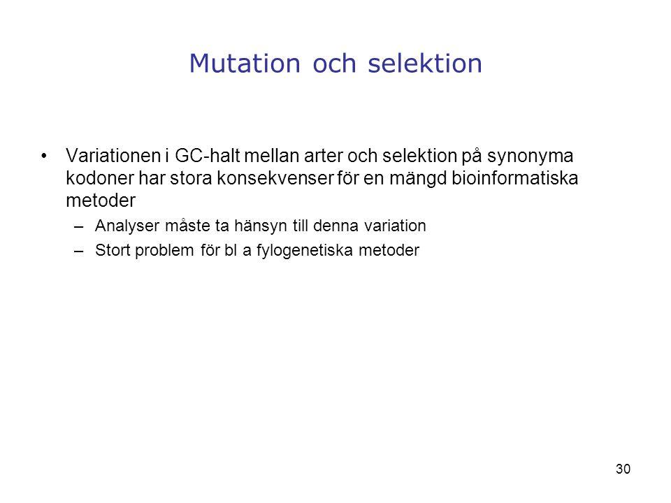 30 Mutation och selektion Variationen i GC-halt mellan arter och selektion på synonyma kodoner har stora konsekvenser för en mängd bioinformatiska met