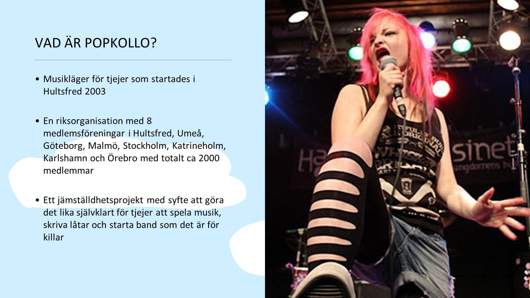 VAD ÄR POPKOLLO? Musikläger för tjejer som startades i Hultsfred 2003 En riksorganisation med 8 medlemsföreningar i Hultsfred, Umeå, Göteborg, Malmö,