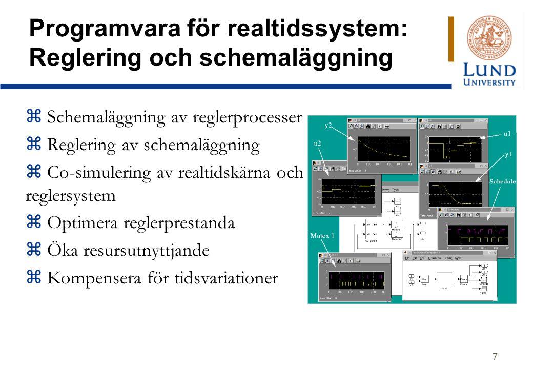 7 Programvara för realtidssystem: Reglering och schemaläggning z Schemaläggning av reglerprocesser z Reglering av schemaläggning z Co-simulering av realtidskärna och reglersystem z Optimera reglerprestanda z Öka resursutnyttjande z Kompensera för tidsvariationer