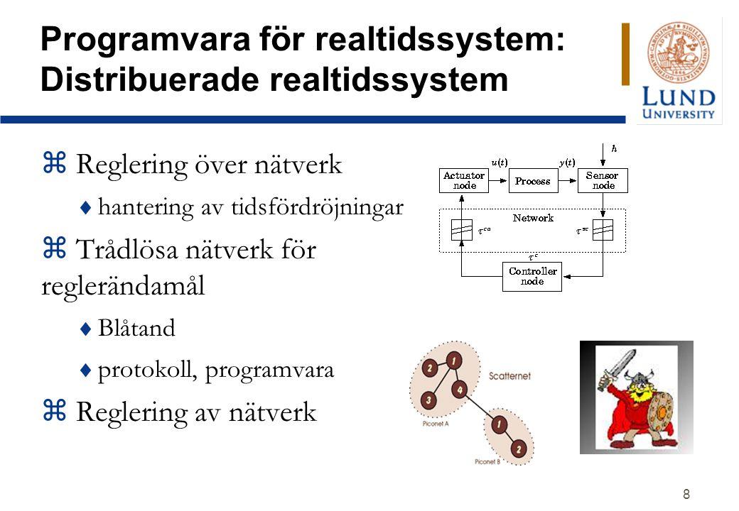 8 Programvara för realtidssystem: Distribuerade realtidssystem z Reglering över nätverk  hantering av tidsfördröjningar z Trådlösa nätverk för reglerändamål  Blåtand  protokoll, programvara z Reglering av nätverk
