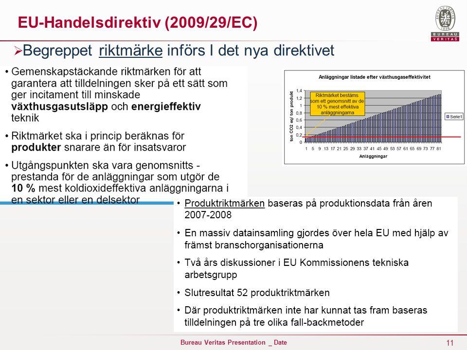 11 Bureau Veritas Presentation _ Date EU-Handelsdirektiv (2009/29/EC)  Begreppet riktmärke införs I det nya direktivet