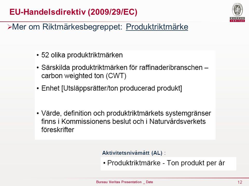 12 Bureau Veritas Presentation _ Date EU-Handelsdirektiv (2009/29/EC)  Mer om Riktmärkesbegreppet: Produktriktmärke Aktivitetsnivåmått (AL) :