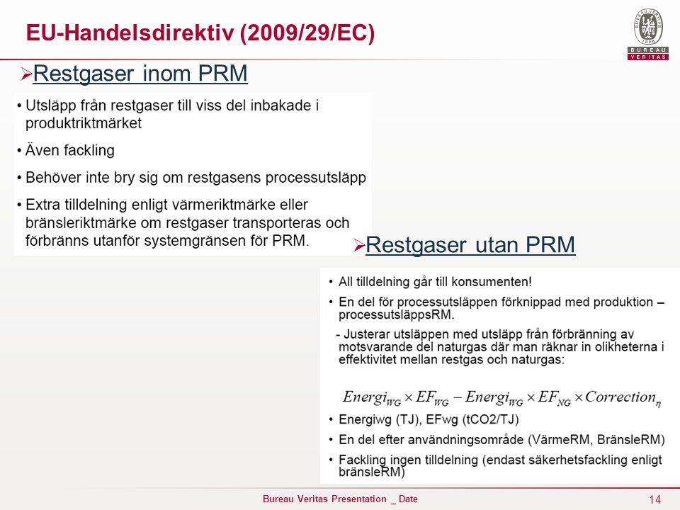 14 Bureau Veritas Presentation _ Date EU-Handelsdirektiv (2009/29/EC)  Restgaser inom PRM  Restgaser utan PRM