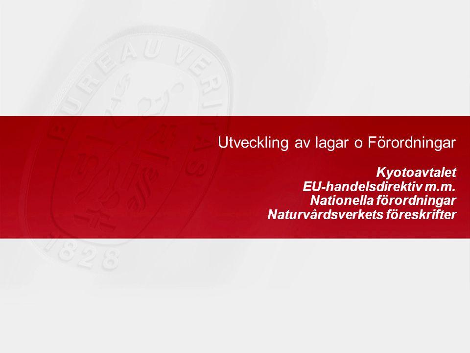 Utveckling av lagar o Förordningar Kyotoavtalet EU-handelsdirektiv m.m.