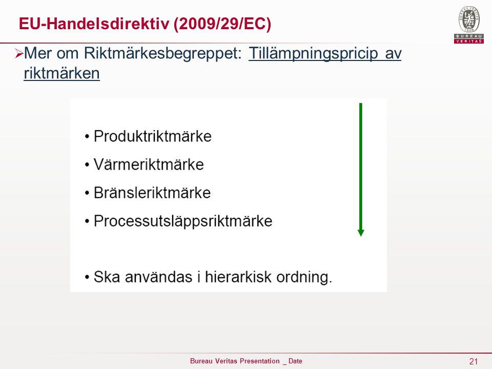 21 Bureau Veritas Presentation _ Date EU-Handelsdirektiv (2009/29/EC)  Mer om Riktmärkesbegreppet: Tillämpningspricip av riktmärken