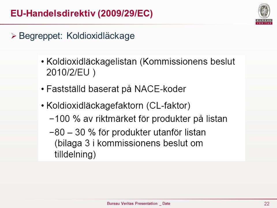 22 Bureau Veritas Presentation _ Date EU-Handelsdirektiv (2009/29/EC)  Begreppet: Koldioxidläckage