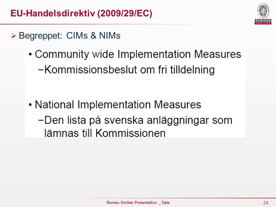 24 Bureau Veritas Presentation _ Date EU-Handelsdirektiv (2009/29/EC)  Begreppet: CIMs & NIMs
