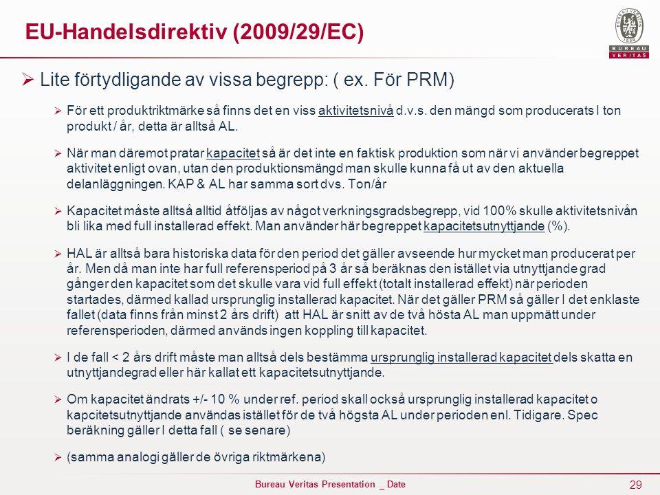 29 Bureau Veritas Presentation _ Date EU-Handelsdirektiv (2009/29/EC)  Lite förtydligande av vissa begrepp: ( ex.