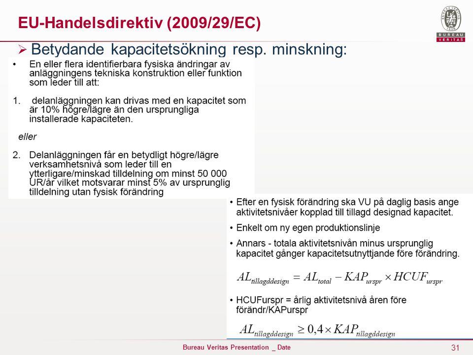 31 Bureau Veritas Presentation _ Date EU-Handelsdirektiv (2009/29/EC)  Betydande kapacitetsökning resp.