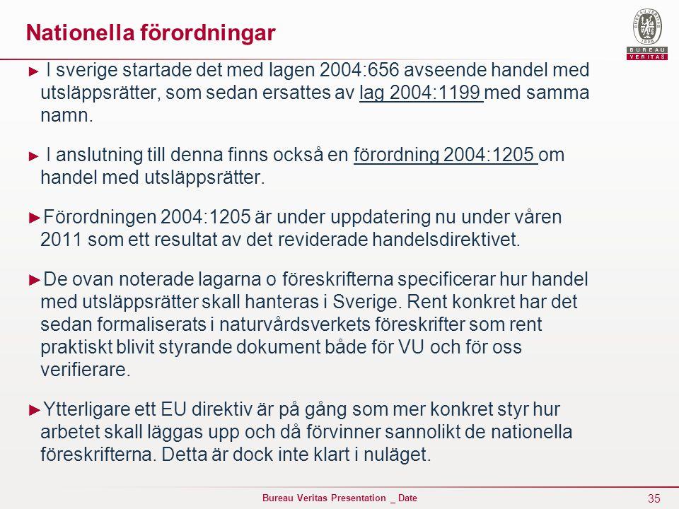 35 Bureau Veritas Presentation _ Date Nationella förordningar ► I sverige startade det med lagen 2004:656 avseende handel med utsläppsrätter, som sedan ersattes av lag 2004:1199 med samma namn.