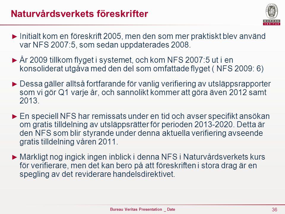 36 Bureau Veritas Presentation _ Date Naturvårdsverkets föreskrifter ► Initialt kom en föreskrift 2005, men den som mer praktiskt blev använd var NFS 2007:5, som sedan uppdaterades 2008.