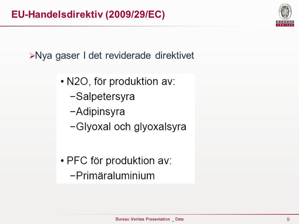 20 Bureau Veritas Presentation _ Date EU-Handelsdirektiv (2009/29/EC)  Mer om Riktmärkesbegreppet: Processutsläppriktmärke(fall-back princip) Aktivitetsnivåmått (AL) :