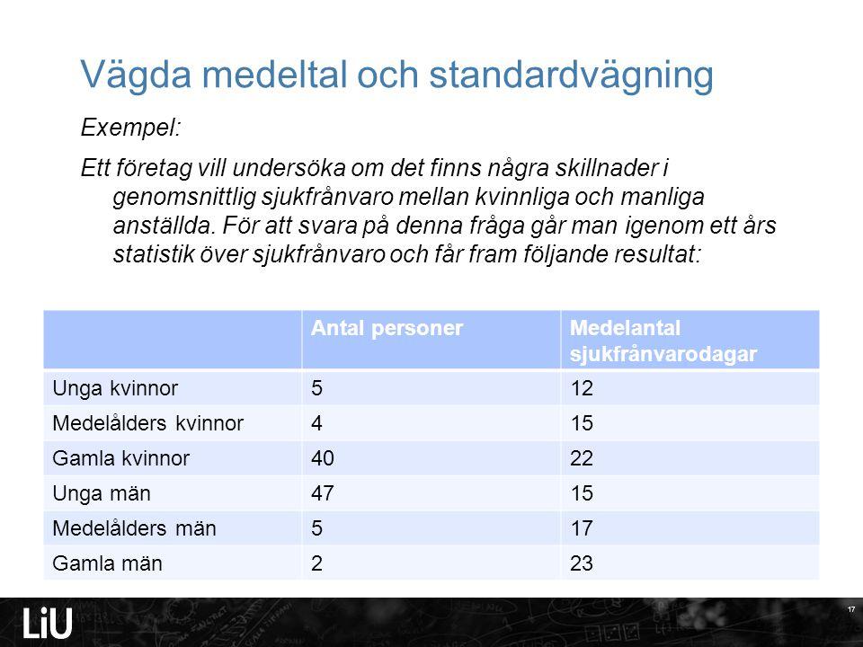 17 Vägda medeltal och standardvägning Exempel: Ett företag vill undersöka om det finns några skillnader i genomsnittlig sjukfrånvaro mellan kvinnliga