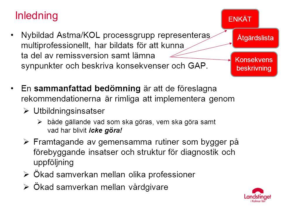 Inledning Nybildad Astma/KOL processgrupp representeras multiprofessionellt, har bildats för att kunna ta del av remissversion samt lämna synpunkter o
