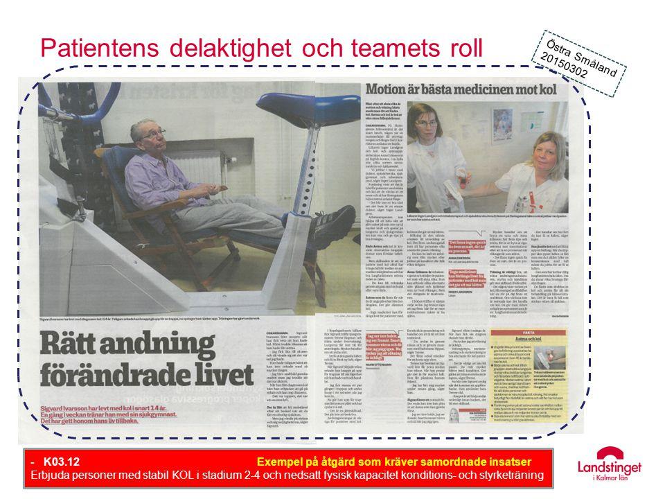 Patientens delaktighet och teamets roll Östra Småland 20150302 - K03.12 Exempel på åtgärd som kräver samordnade insatser Erbjuda personer med stabil K