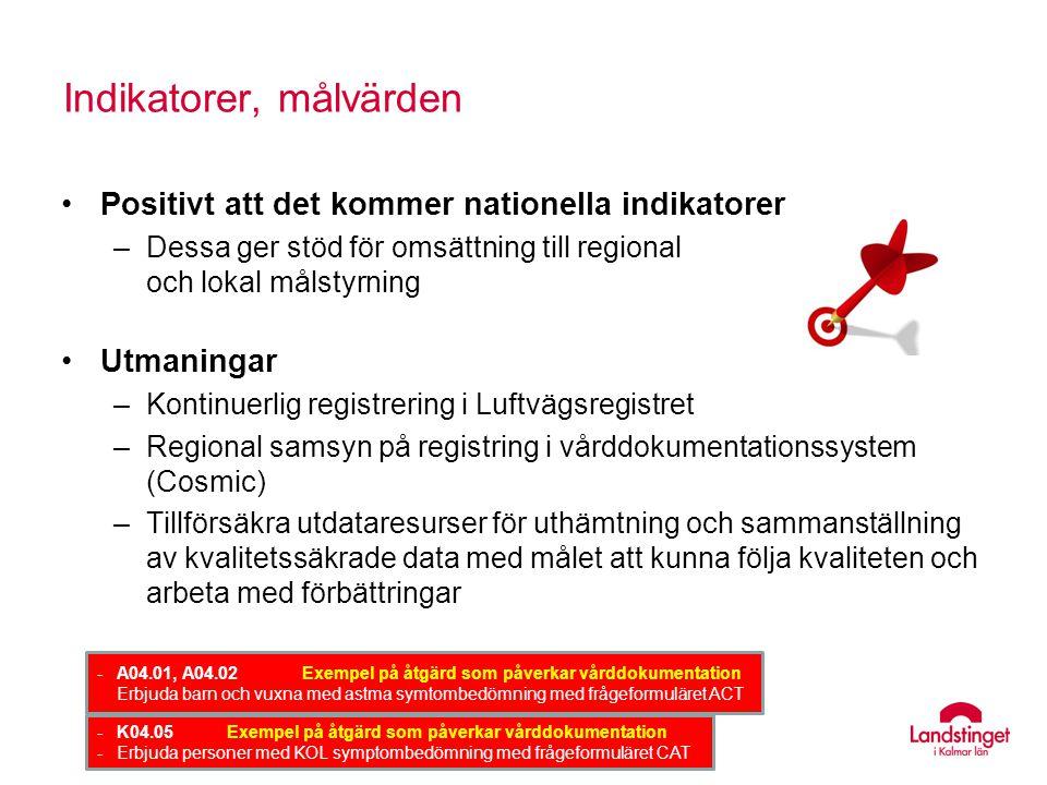 Indikatorer, målvärden Positivt att det kommer nationella indikatorer –Dessa ger stöd för omsättning till regional och lokal målstyrning Utmaningar –K