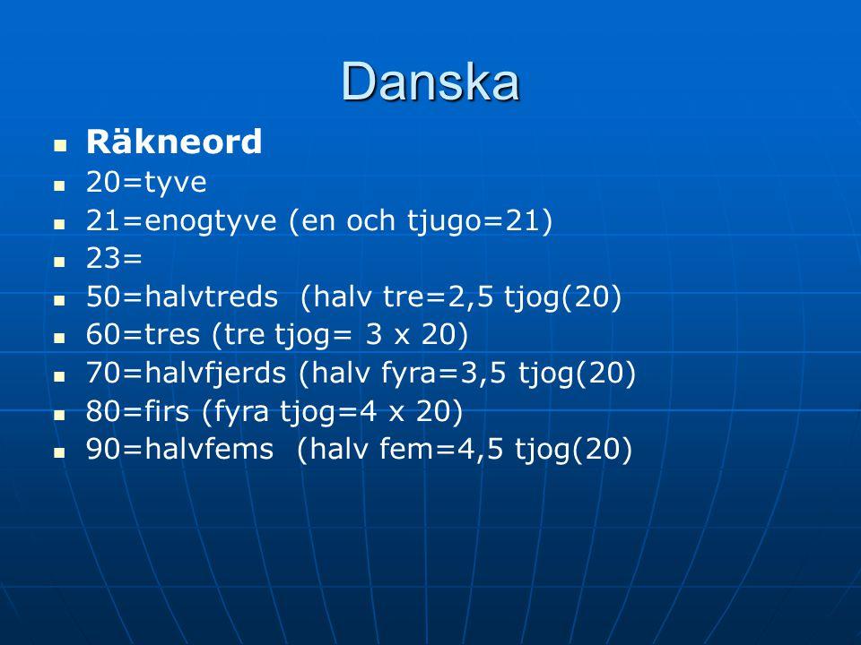 Danska Räkneord 20=tyve 21=enogtyve (en och tjugo=21) 23= 50=halvtreds (halv tre=2,5 tjog(20) 60=tres (tre tjog= 3 x 20) 70=halvfjerds (halv fyra=3,5 tjog(20) 80=firs (fyra tjog=4 x 20) 90=halvfems (halv fem=4,5 tjog(20)